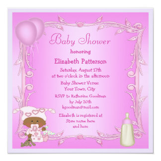 African American Baby & Balloons Pink Baby Shower 5.25x5.25 Square Paper Invitation Card