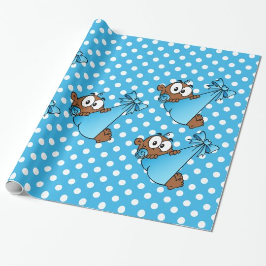 African American Baby Blue Wrapping Paper