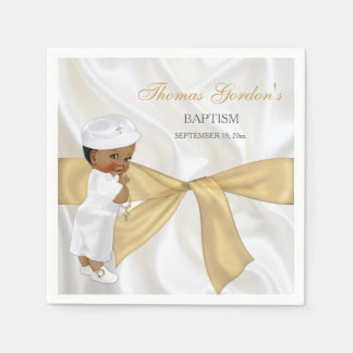 African American Baby Boy Baptism Christening Paper Serviettes