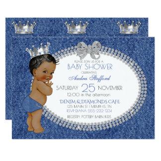 African American Baby Boy Denim & Diamonds 13 Cm X 18 Cm Invitation Card