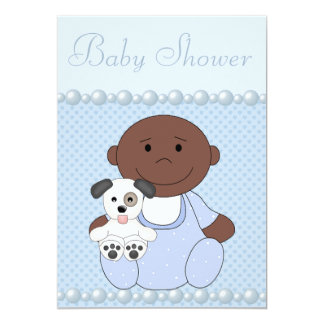 African American Baby Boy & Puppy Blue Baby Shower Invites