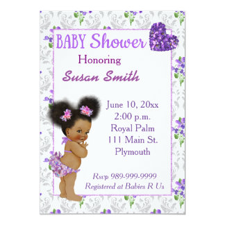 African American Baby Girl Baby Shower 13 Cm X 18 Cm Invitation Card