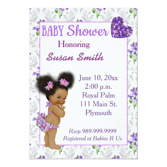 African American Baby Girl Baby Shower Card