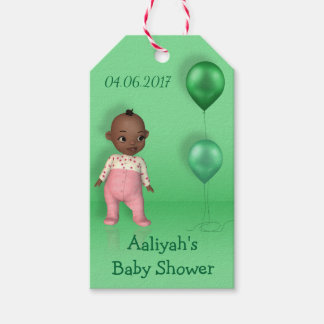 African American Baby Girl - Baby Shower Gift Tag