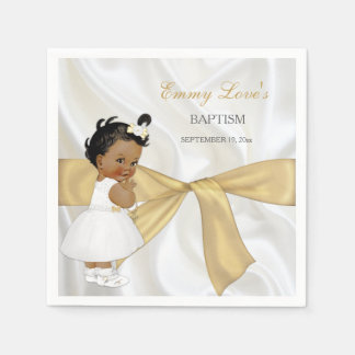 African American Baby Girl Baptism Christening Paper Napkin