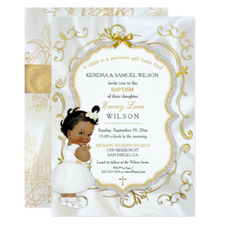 African American Baby Girl Baptism Gold Cross Card