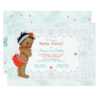 African American Baby Girl Bathing Suit Lace 13 Cm X 18 Cm Invitation Card