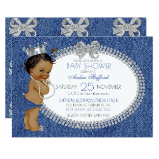African American Baby Girl Denim & Diamonds Bows 13 Cm X 18 Cm Invitation Card