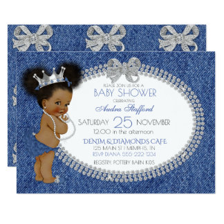African American Baby Girl Denim & Diamonds Bows Card