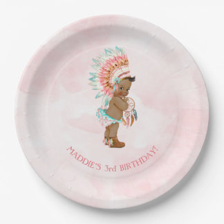 African American Baby Girl Headdress Moccasins Paper Plate