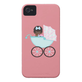 African American Baby Girl Pink Carriage iPhone 4 Case-Mate Cases