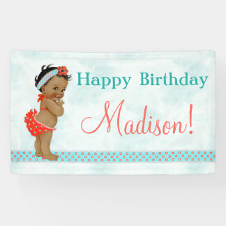 African American Baby Girl Red Bathing Suit Banner