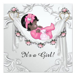 African American Baby Girl Shower Custom Announcement