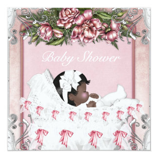 African American Baby Girl Shower Invitations