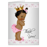 African American Baby Girl Shower Thank You Note Card