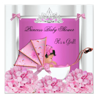 African American Baby Shower Baby Girl Pink 13 Cm X 13 Cm Square Invitation Card