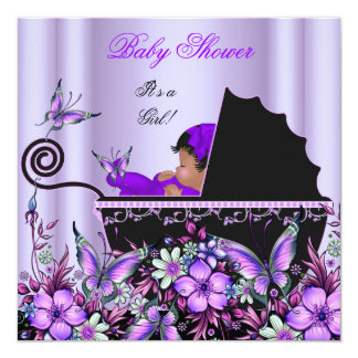 African American Baby Shower Baby Girl Purple 13 Cm X 13 Cm Square Invitation Card