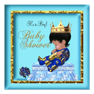 African American Baby Shower Blue Gold Boy Custom Invitations