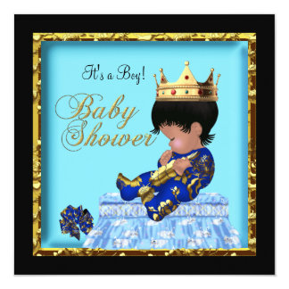 African American Baby Shower Blue Gold Boy 13 Cm X 13 Cm Square Invitation Card