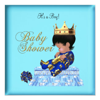 African American Baby Shower Blue Gold Boy Invitation