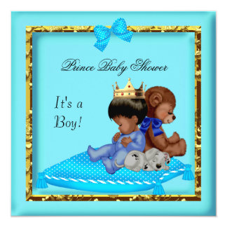African American Baby Shower Blue Gold Boy Prince 13 Cm X 13 Cm Square Invitation Card