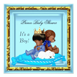African American Baby Shower Blue Gold Boy Prince Personalized Invites