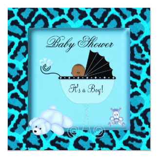 African American Baby Shower Boy Animal Print Personalized Announcements