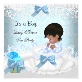 African American Baby Shower Boy Blue Baby Teacup 5.25x5.25 Square Paper Invitation Card