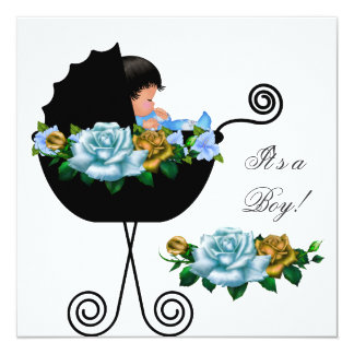 African American Baby Shower Boy Blue Roses Invite