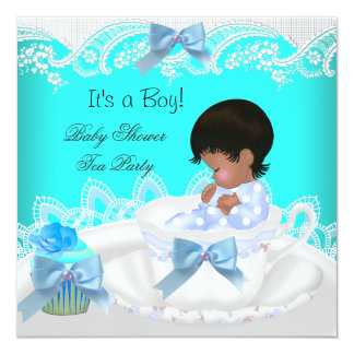 African American Baby Shower Boy Teal Baby Teacup Custom Invitations