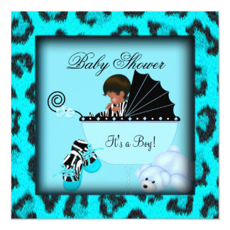 African American Baby Shower Boy Zebra Animal 13 Cm X 13 Cm Square Invitation Card
