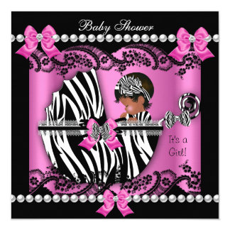 African American Baby Shower Cute Girl Pink Zebra Card