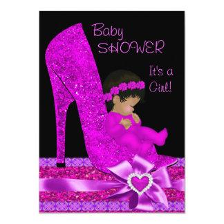 African American Baby Shower Girl Glitter Shoe Custom Announcement