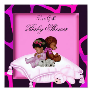 African American Baby Shower Girl Hot Pink Bear 13 Cm X 13 Cm Square Invitation Card