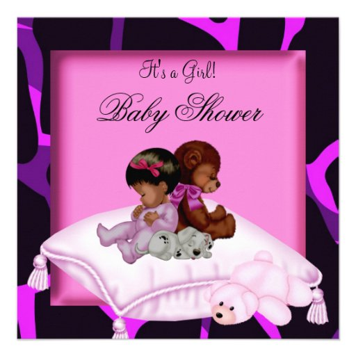 African American Baby Shower Girl Hot Pink Purple Personalized Announcement