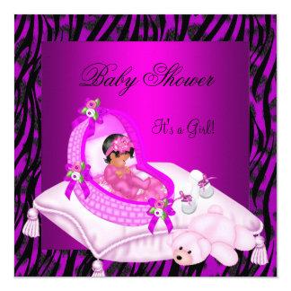 African American Baby Shower Girl Hot Pink Zebra 13 Cm X 13 Cm Square Invitation Card