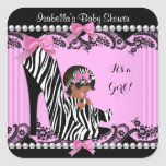African American Baby Shower Girl Hot Pink Zebra 3