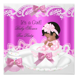 African American Baby Shower Girl Pink in Teacup 5.25x5.25 Square Paper Invitation Card
