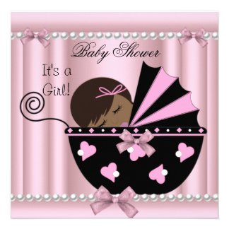 African American Baby Shower Girl Pink Invite