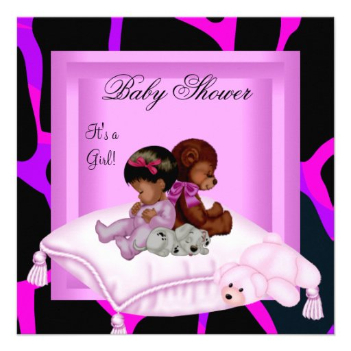 African American Baby Shower Girl Pink Custom Announcements