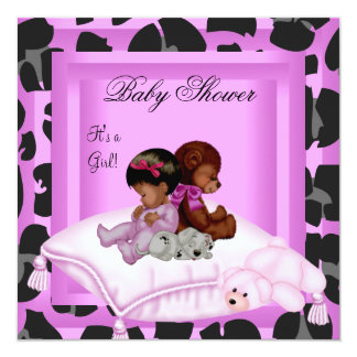 """African American Baby Shower Girl Pink 5.25"""" Square Invitation Card"""