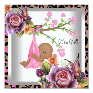 """African American Baby Shower Girl Pink Leopard 5.25"""" Square Invitation Card"""