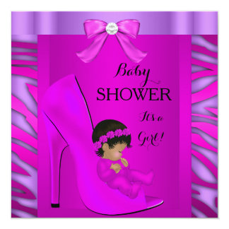 African American Baby Shower Girl Pink Purple 3 13 Cm X 13 Cm Square Invitation Card
