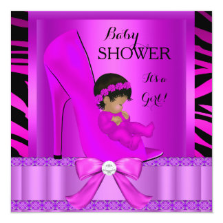 """African American Baby Shower Girl Pink Purple 5.25"""" Square Invitation Card"""