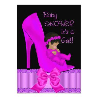 African American Baby Shower Girl Pink Purple Shoe 11 Cm X 16 Cm Invitation Card