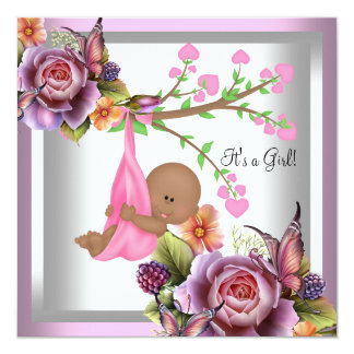 """African American Baby Shower Girl Pink White 5.25"""" Square Invitation Card"""