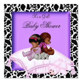 African American Baby Shower Girl Purple 13 Cm X 13 Cm Square Invitation Card