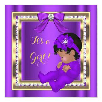"African American Baby Shower Girl Purple Diamond 5.25"" Square Invitation Card"