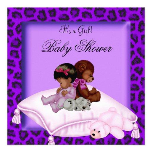 African American Baby Shower Girl Purple Custom Invitations