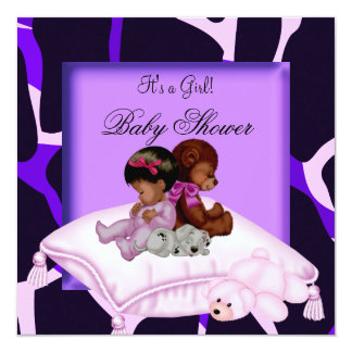 African American Baby Shower Girl Purple Pink 13 Cm X 13 Cm Square Invitation Card